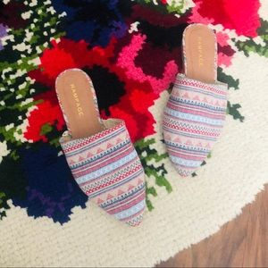 Rampage Aztec Patterned Pointed Toe Mule Slides